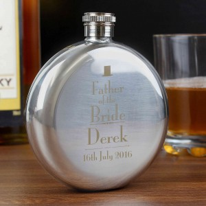 Decorative Wedding Father of the Bride Round Hip Flask