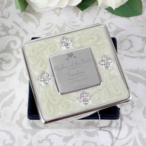 Decorative Wedding Mother of the Bride Square Diamante Trinket Box