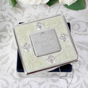 Decorative Wedding Flower Girl Square Diamante Trinket Box