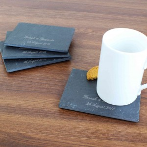 Script Engraved 4 Pack of Slate Coasters