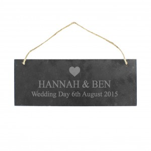 Heart Motif Hanging Slate Plaque