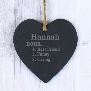 Word Definition Slate Heart Decoration