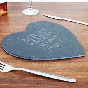 Mr & Mrs Slate Heart Placemat
