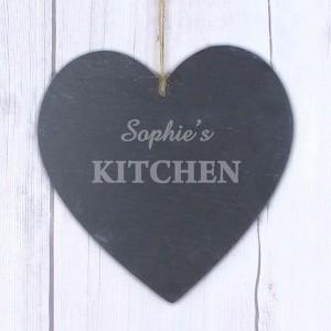 Kitchen Large Slate Heart Decoration