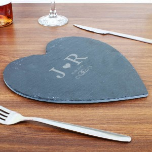 Monogram Slate Heart Placemat