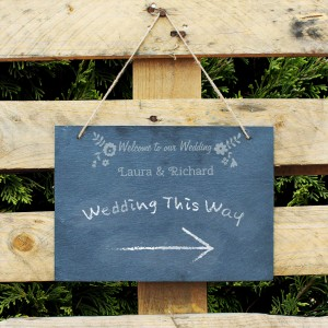 Wedding Flowers Hanging Slate Sign