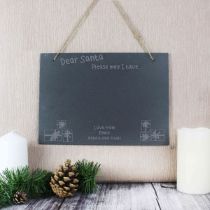 Christmas Wish List Hanging Slate Sign