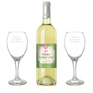 Mothers White Wine and Two Glasses