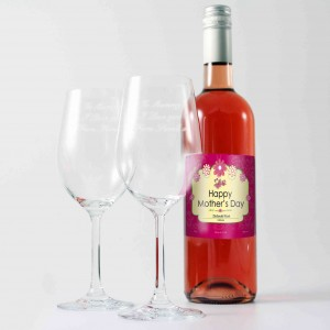 Mothers Rose Wine and Two Glasses