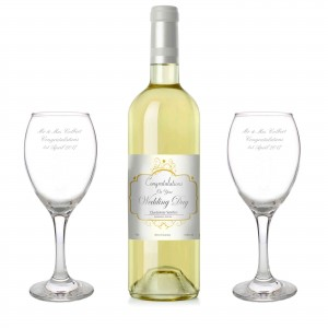 Wedding White Wine and Two Glasses