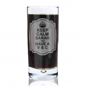 Keep Calm Hi Ball Bubble Glass