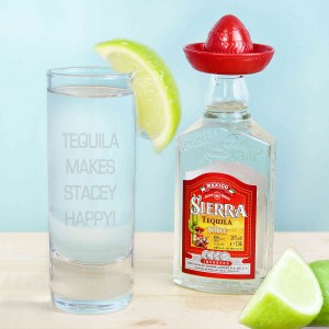 Shot Glass and Mini Tequila - Text Only