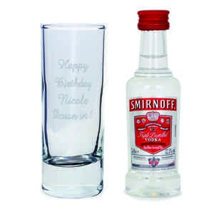 Shot Glass and Miniature Vodka Set - Text Only