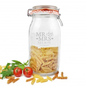 Mr & Mrs Large Glass Kilner Jar