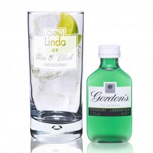 Gin OClock Hi Ball Bubble Glass & Mini Gin Set