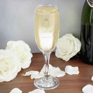 Decorative Wedding Bride Glass Flute