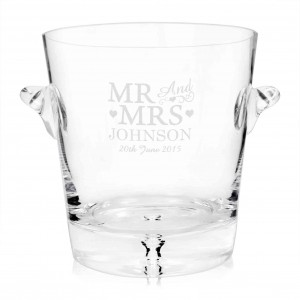 Glass Mr & Mrs Ice Bucket