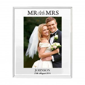 Mirrored Mr & Mrs Glass Photo Frame 5x7