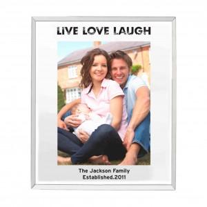 Mirrored Live Love Laugh Glass Photo Frame 5x7