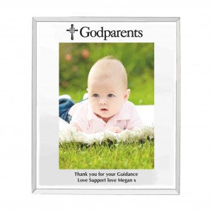 Mirrored Godparents Glass Photo Frame 5x7