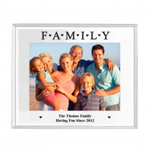 Mirrored Family Glass Photo Frame 5x7