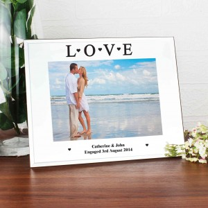 Mirrored Love Glass Photo Frame 5x7