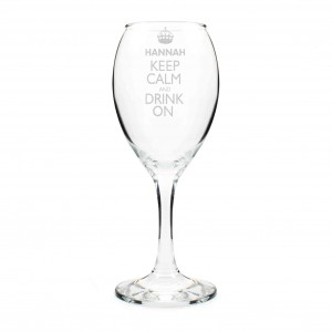 Keep Calm Engraved Wine Glass