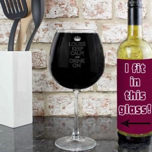 Keep Calm Bottle of Wine Glass