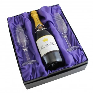 Crystal Pair of Flutes and Champagne