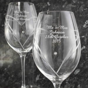 Hand Cut Diamante Heart Wine Glasses with Swarovski Elements