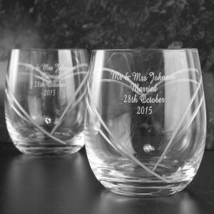 Hand Cut Diamante Heart Tumblers with Swarovski Elements