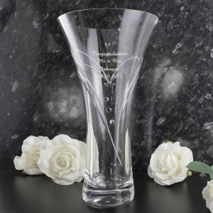 Large Hand Cut Little Hearts Diamante Vase with Swarovski Elements