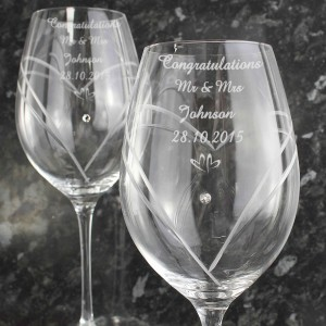 Hand Cut Little Hearts Diamante Wine Glasses with Swarovski Elements