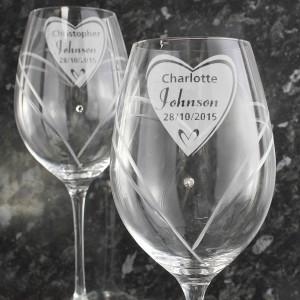 Hand Cut Big Heart Diamante Wine Glasses with Swarovski Elements