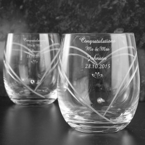 Hand Cut Little Hearts Set of Diamante Tumblers with Swarovski Elements