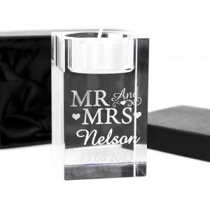 Mr & Mrs Tea Light Candle Holder