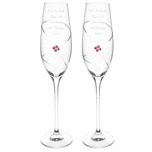 Pair of Infinity Flutes with Ruby Swarovski Elements