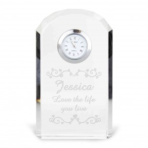 Heart Swirl Crystal Clock