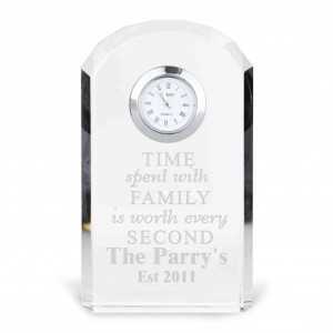 Time Spent With Family Crystal Clock
