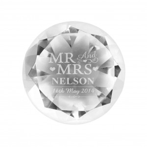 Mr & Mrs Diamond Paperweight