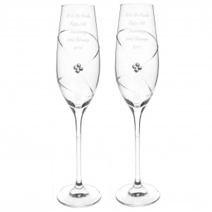 Pair of Infinity Flutes with Clear Swarovski Elements