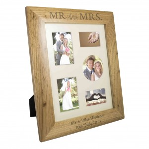 Mr & Mrs 10x8 Wooden Photo Frame