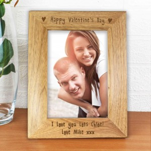 6x4 Happy Valentines Day Wooden Photo Frame