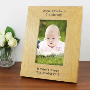 Oak Finish 6x4 Portrait Photo Frame - Long Message