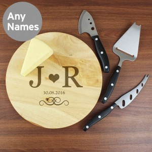 Monogram Cheeseboard with 3 Cheese Knives