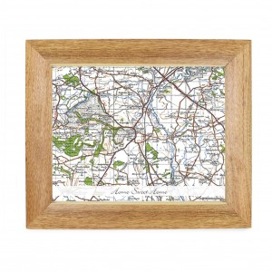 Postcode Map Wooden 10x8 Photo Frame - New Popular Edition With Message