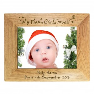 My First Christmas 6x4 Wooden Photo Frame