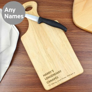 Free Text Large Paddle Chopping Board