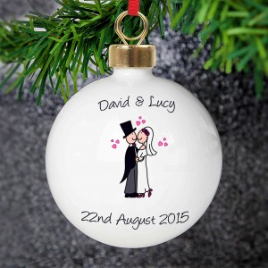 Cartoon Couple Keepsake Bauble