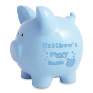 Blue Ceramic Piggy Money Box